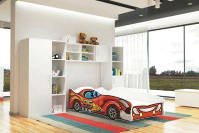 Relita Autobett TURBO inkl. Lattenrost und Matratze, rot, 80 x 160 cm