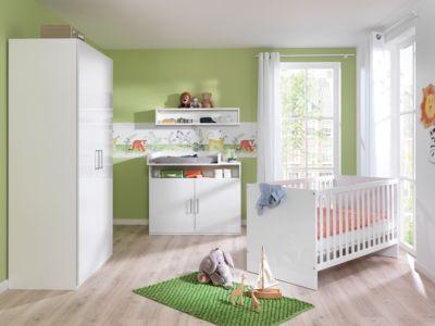 Komplettkinderzimmer Baby Glossy 4-tlg, Alpinweiß/ Kristallweiß Hochglanz Gr. 70 x 140