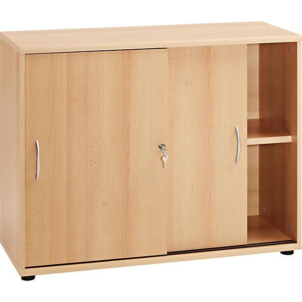 b roschrank mit schiebet ren 76x100x40 cm braun yomonda. Black Bedroom Furniture Sets. Home Design Ideas