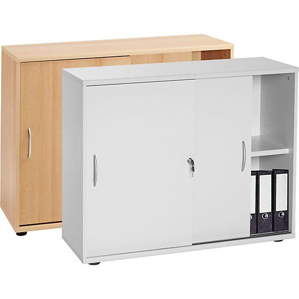 b roschrank mit schiebet ren 76x100x40 cm grau yomonda. Black Bedroom Furniture Sets. Home Design Ideas