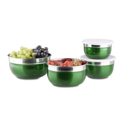 relaxdays Schüssel Set mit Deckel 4-teilig grün | Küche und Esszimmer > Aufbewahrung > Vorratsdosen | relaxdays