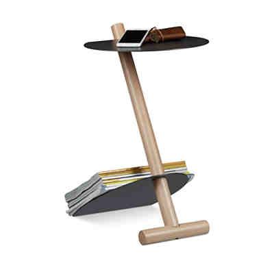beistelltisch mit zeitungsablage grau yomonda. Black Bedroom Furniture Sets. Home Design Ideas
