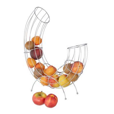 Früchtekorb aus Edelstahl modern silber
