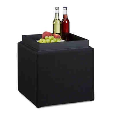 faltbarer sitz hocker mit schublade leinen bezug 38x38 cm schwarz yomonda. Black Bedroom Furniture Sets. Home Design Ideas
