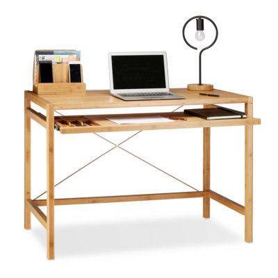 Computertisch mit Tastaturauszug beige