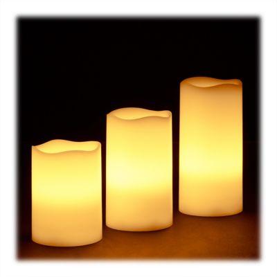 3-tlg. LED-Kerzen Echtwachs Set weiß