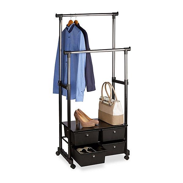 kleiderst nder auf rollen schwarz yomonda. Black Bedroom Furniture Sets. Home Design Ideas