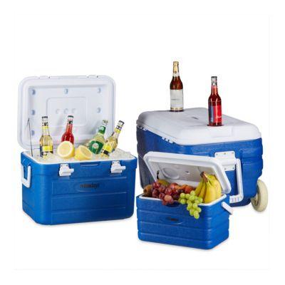 3-tlg. Kühlbox-Set ohne Strom mit Trolley blau