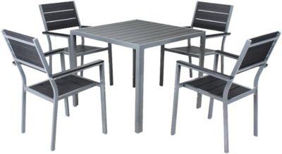 5-tlg. Garten Sitzgruppe ´´Hamilton´´ stapelbar schwarz/grau