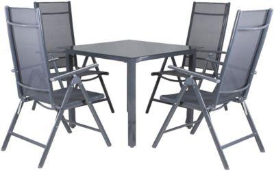 5-tlg. Garten Sitzgruppe ´´Jacob´´ klappbar & gepolstert grau