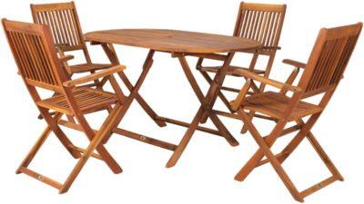5-tlg. Akazien Garten Sitzgruppe ´´Trinidad´´ klappbar braun