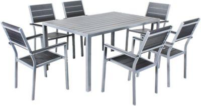 7-tlg. Garten Sitzgruppe ´´Hamilton´´ stapelbar schwarz/grau