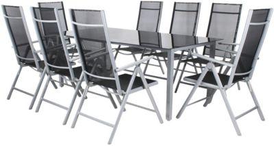 9-tlg. Garten Sitzgruppe ´´Jacob´´ klappbar schwarz/grau