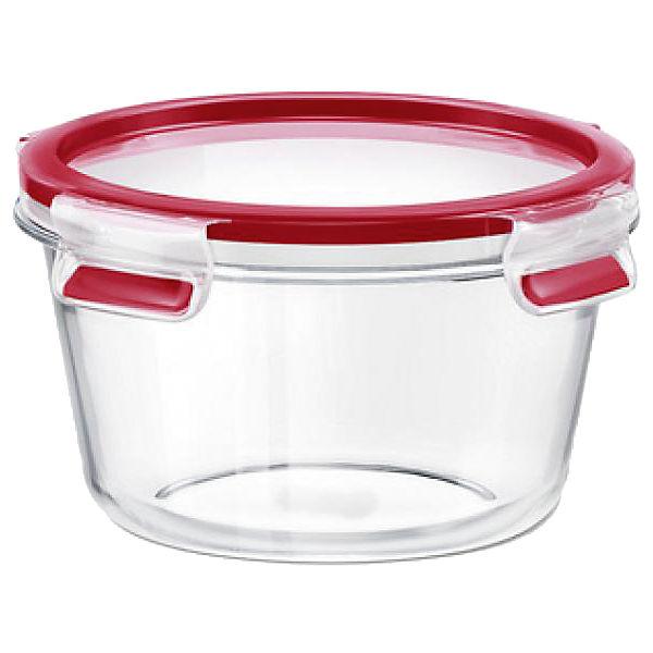 Aufschnittdose Glas glas frischhaltedose clip rund 0 9 l rot emsa yomonda