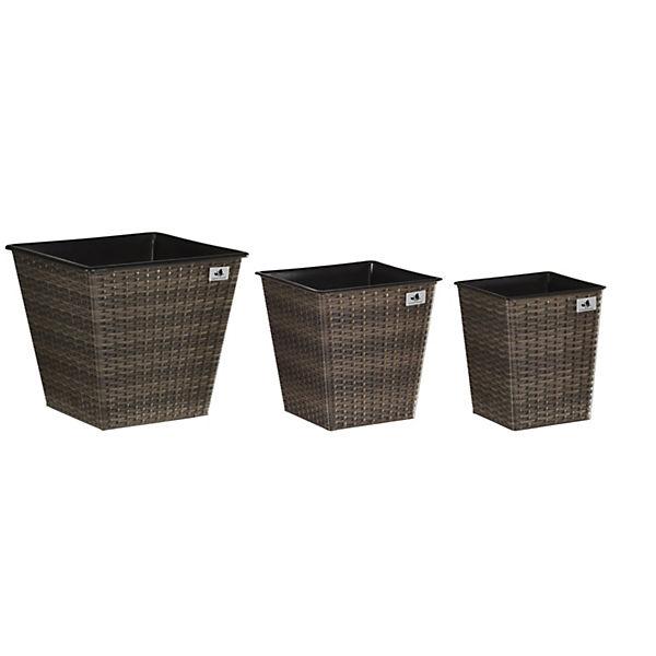3-tlg. Polyrattan Pflanzkübel-Set, braun,   yomonda