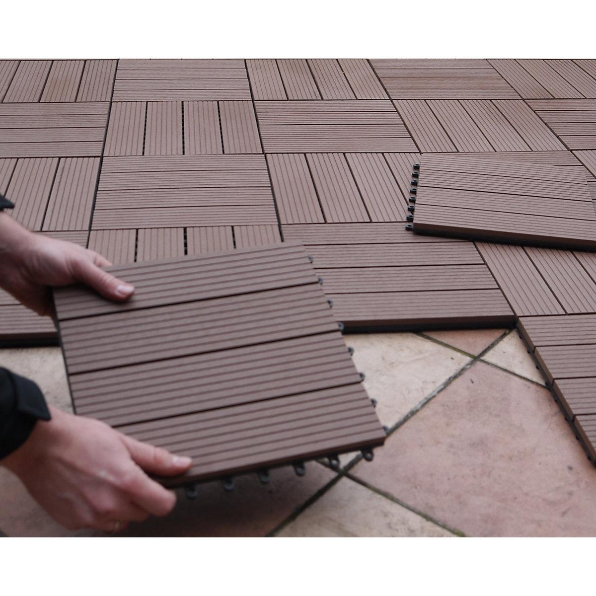 10er set wpc terrassen fliesen 30x30 cm braun yomonda. Black Bedroom Furniture Sets. Home Design Ideas