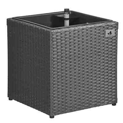 polyrattan pflanzk bel mit bew sserungssystem 36x36x36 cm grau yomonda. Black Bedroom Furniture Sets. Home Design Ideas