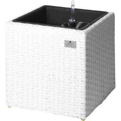 Polyrattan Pflanzkübel mit Bewässerungssystem 36x102 cm, weiß, | yomonda