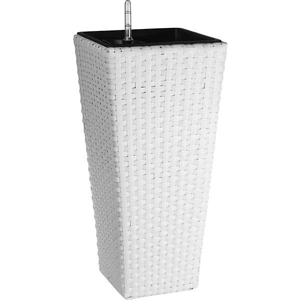 Polyrattan Pflanzkübel mit Bewässerungssystem, weiß, | yomonda