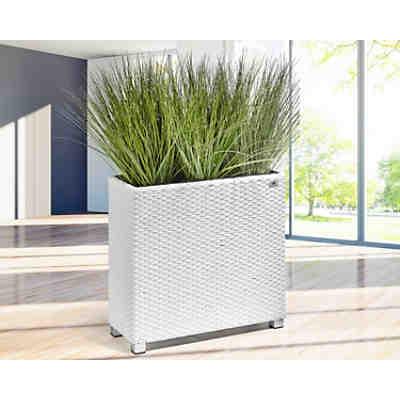 Polyrattan Raumteiler/Pflanzkübel mit Aluminium-Füßen 76x26x73 cm ...