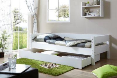 Ticaa Einzelbett Robby Buche massiv Weiß weiß Gr. 90 x 200