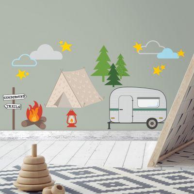 Wandsticker Camping mehrfarbig