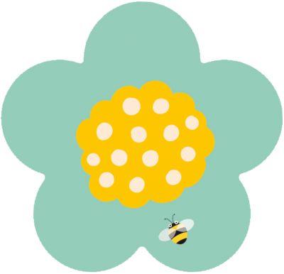 Kinderteppich Ultrasoft Blume Biene, 75 x 75 cm...