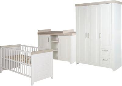 Komplett Kinderzimmer FELICIA, 3-tlg. (Bett, Wickelkommode, Kleiderschrank 3-trg,), weiß/Luna Elm Gr. 70 x 140