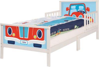Roba Kinderbett RENNFAHRER. 70 x 140 cm, weiß | Kinderzimmer > Kinderbetten > Kinderbetten | Roba