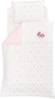 Träumeland Babybettwäsche Lovely Einhorn 80 x 80 cm weiß | Kinderzimmer > Textilien für Kinder > Kinderbettwäsche | Weiß | Baumwolle | Träumeland