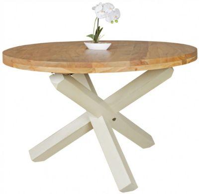 WOHNLING Esszimmertisch BOHA Ø 120 cm x 75 cm Massivholz Landhaus Esstisch 4 Personen Küchentisch Tisch braun
