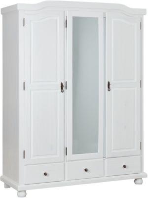 Kleiderschrank Kappl, 3-türig, Kiefer massiv, weiß lackiert