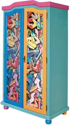 Kleiderschrank Genffiti, 2-türig, Kiefer massiv, bunt lackiert mehrfarbig