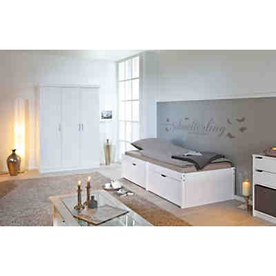 funktionsbett mit schubladen lausanne kiefer massiv wei lackiert 140 x 200 cm wei yomonda. Black Bedroom Furniture Sets. Home Design Ideas