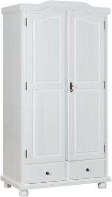 Kleiderschrank Reutte, 2-türig, Kiefer massiv, weiß lackiert Gr. 260 x 260