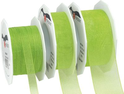 25m Geschenkband 10mm ´´Organza´´ grün