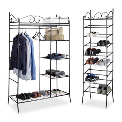 relaxdays 2 tlg Garderoben Set COUNTRY Stoffschrank Schuhschrank Kleiderschrank Schuhregal schwarz/weiß