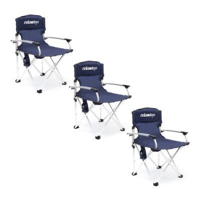 3er Campingstuhl-Set blau