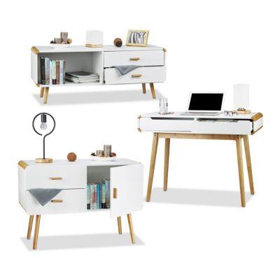 relaxdays 3 tlg. Möbel Set Materialmix Sideboard Schreibtisch Kommode 2 Schubladen weiß