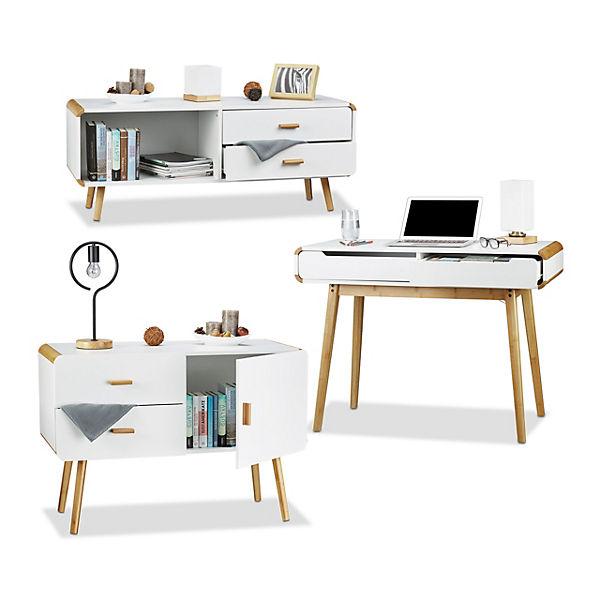 3 tlg. Möbel Set Materialmix Sideboard Schreibtisch Kommode 2 ...