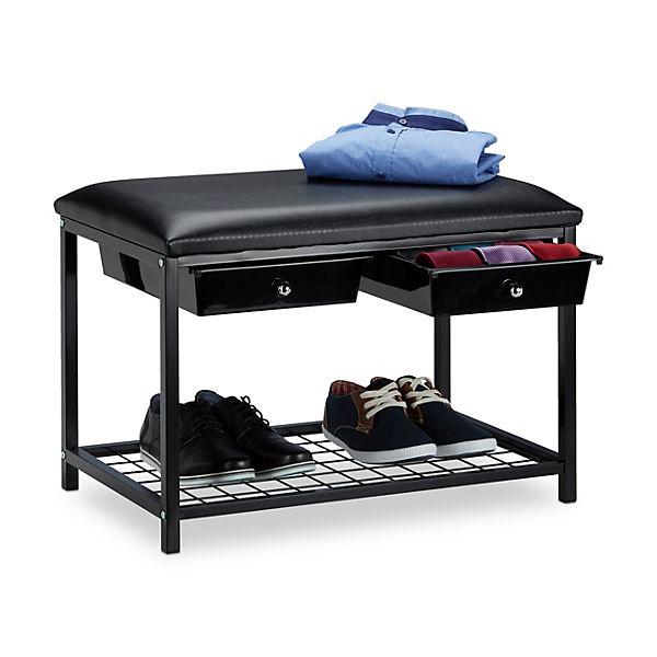 Sitzbank mit Schubladen, schwarz, | yomonda
