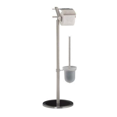 WC-Garnitur ´´Edelstahl Glas´´ silber