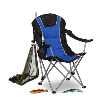 Campingstuhl faltbar mit Polsterung blau