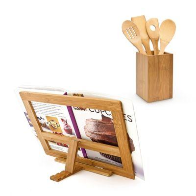 2er-Küchen-Set inkl. Kochbuchhalter und Küchenhelfer beige