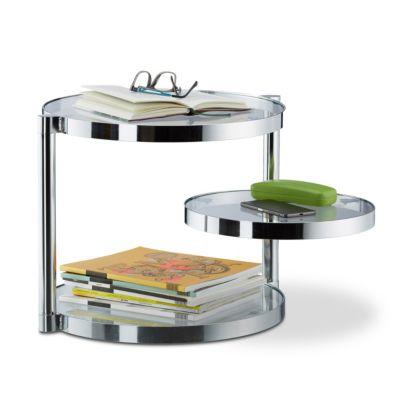 relaxdays Couchtisch aus Glas mit Ablagen transparent