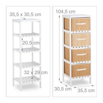 badregal mit 4 bambus k rben wei. Black Bedroom Furniture Sets. Home Design Ideas