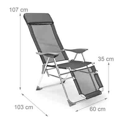 garten liegestuhl klappbar grau yomonda. Black Bedroom Furniture Sets. Home Design Ideas