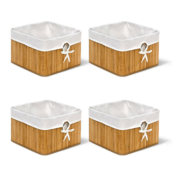 Aus Bambus und Stoff Regalkorb waschbarer Bezug 4 x Aufbewahrungskorb weiß