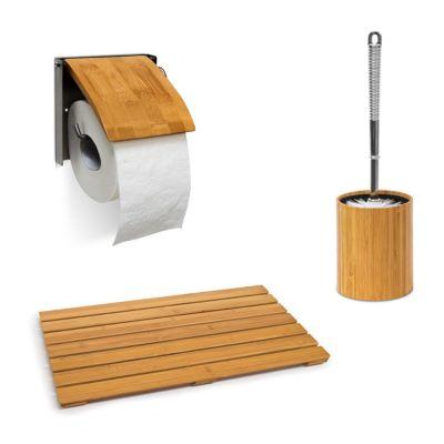 3-tlg. Badzubehör-Set Bambus beige