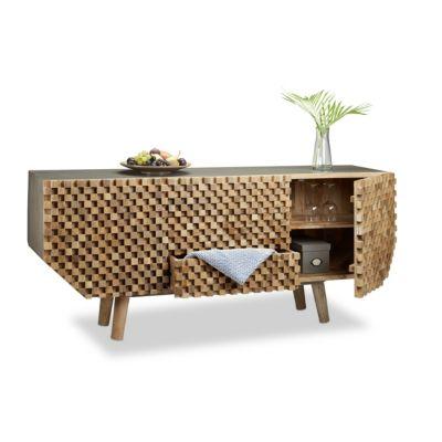 Sideboard 3D-Muster braun